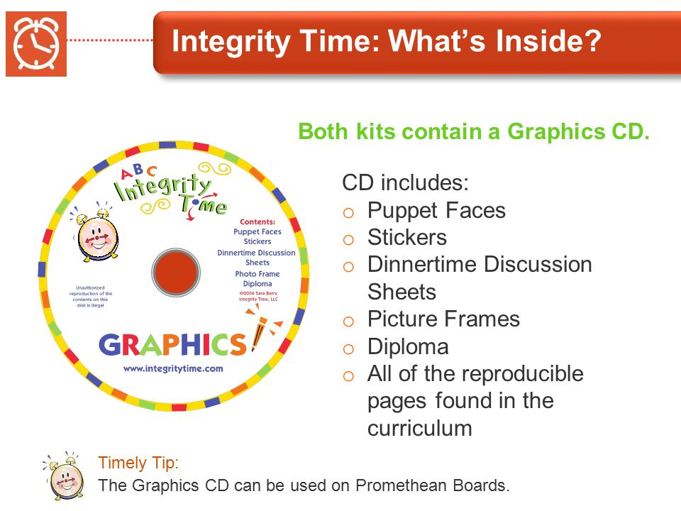 Integrity Time: What's Inside. Both kits contain a Graphics CD.