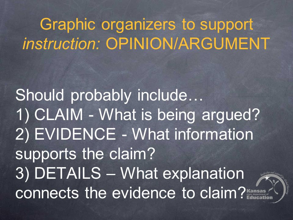 Graphic organizers to support instruction: OPINION/ARGUMENT Should probably include… 1) CLAIM - What is being argued? 2) EVIDENCE - What information s