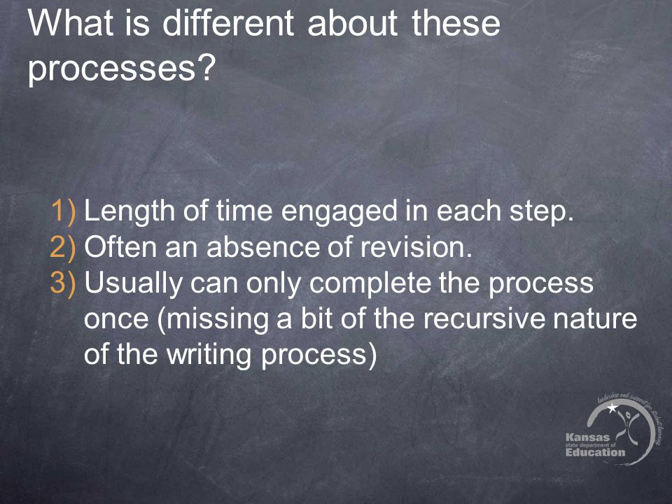 What is different about these processes? 1)Length of time engaged in each step. 2)Often an absence of revision. 3)Usually can only complete the proces
