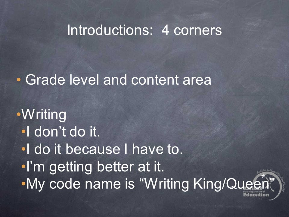 "Introductions: 4 corners Grade level and content area Writing I don't do it. I do it because I have to. I'm getting better at it. My code name is ""Wri"