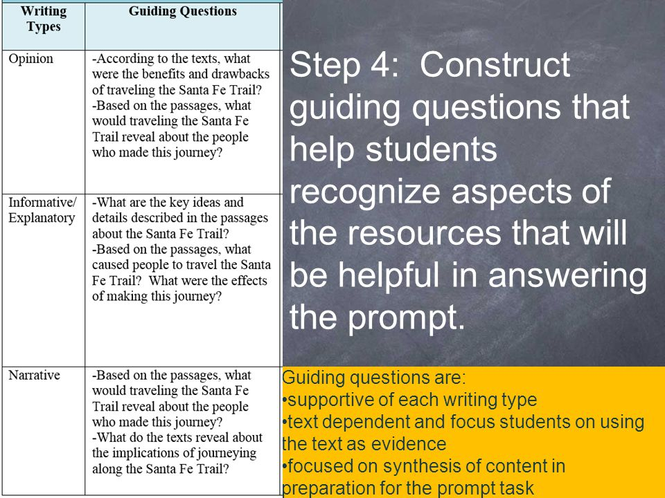 Guiding questions are: supportive of each writing type text dependent and focus students on using the text as evidence focused on synthesis of content in preparation for the prompt task Step 4: Construct guiding questions that help students recognize aspects of the resources that will be helpful in answering the prompt.