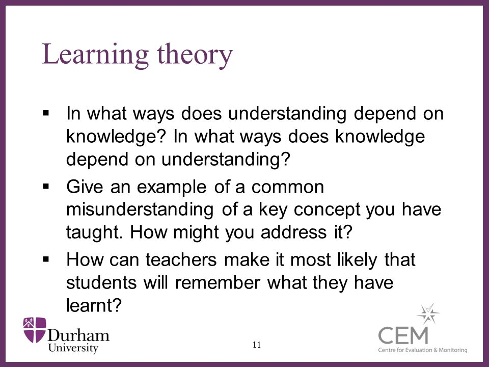 ∂ Learning theory  In what ways does understanding depend on knowledge? In what ways does knowledge depend on understanding?  Give an example of a c