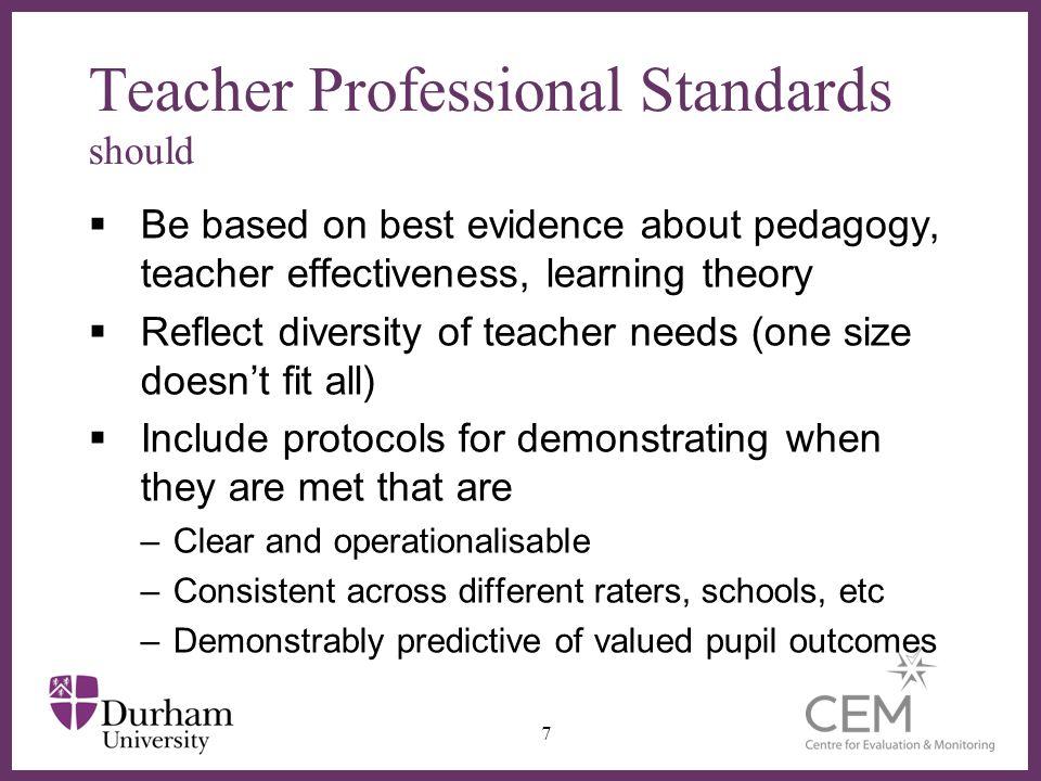 ∂ Evidence-based standards for effective teaching.