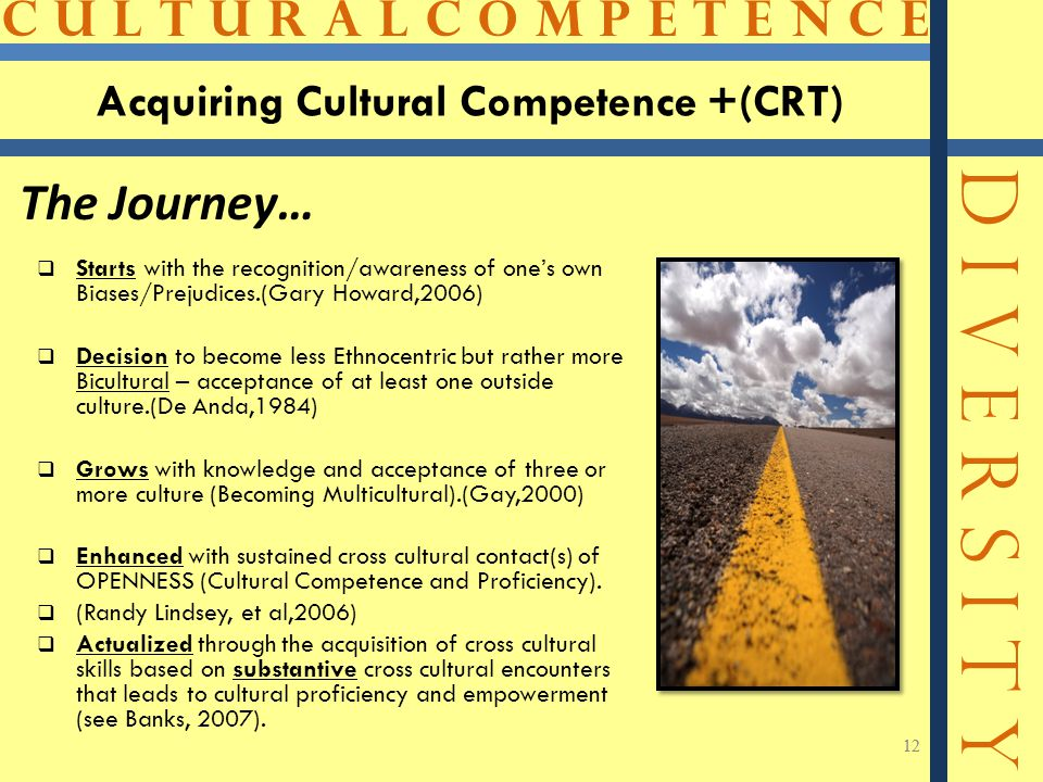 C U L T U R A L C O M P E T E N C E D I V E R S I T Y 12 Acquiring Cultural Competence +(CRT)  Starts with the recognition/awareness of one's own Biases/Prejudices.(Gary Howard,2006)  Decision to become less Ethnocentric but rather more Bicultural – acceptance of at least one outside culture.(De Anda,1984)  Grows with knowledge and acceptance of three or more culture (Becoming Multicultural).(Gay,2000)  Enhanced with sustained cross cultural contact(s) of OPENNESS (Cultural Competence and Proficiency).