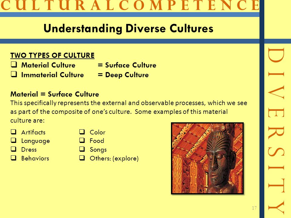 C U L T U R A L C O M P E T E N C E D I V E R S I T Y 17 Understanding Diverse Cultures TWO TYPES OF CULTURE  Material Culture= Surface Culture  Immaterial Culture = Deep Culture Material = Surface Culture This specifically represents the external and observable processes, which we see as part of the composite of one's culture.