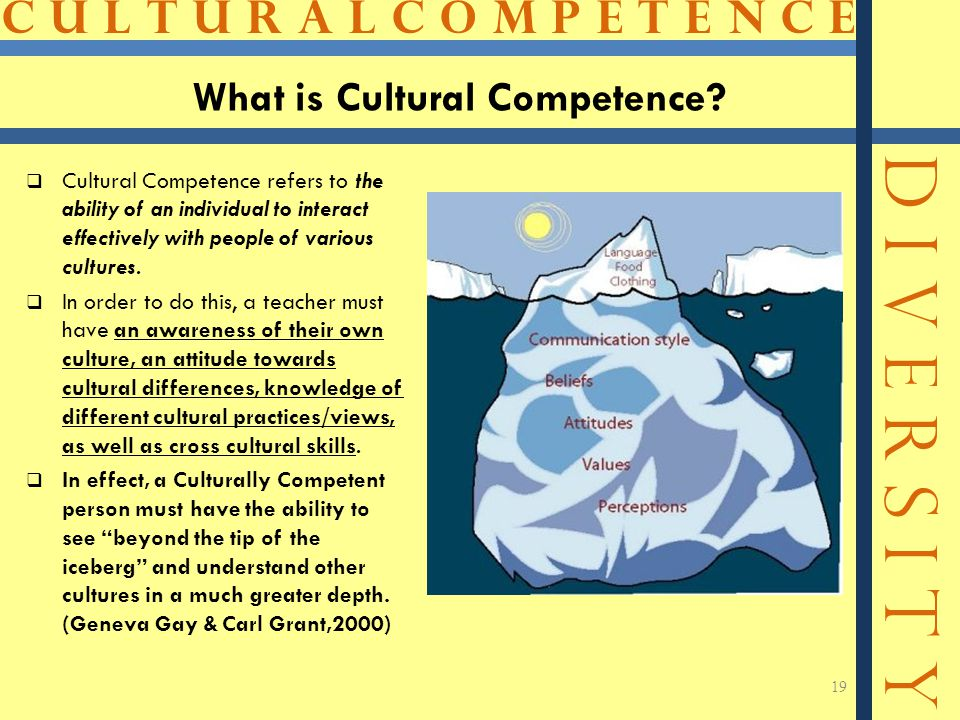 C U L T U R A L C O M P E T E N C E D I V E R S I T Y What is Cultural Competence?  Cultural Competence refers to the ability of an individual to int