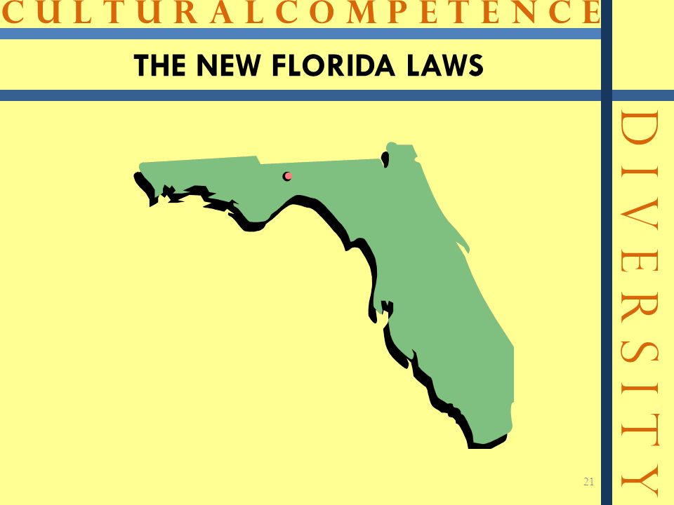 C U L T U R A L C O M P E T E N C E D I V E R S I T Y 21 THE NEW FLORIDA LAWS