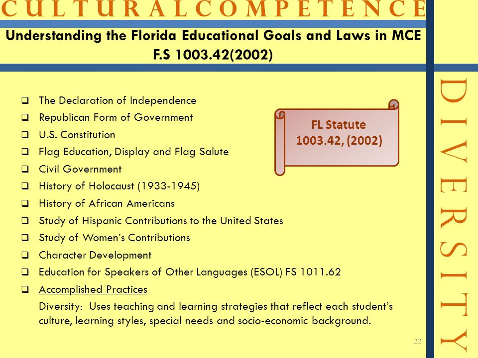 C U L T U R A L C O M P E T E N C E D I V E R S I T Y 22 Understanding the Florida Educational Goals and Laws in MCE F.S 1003.42(2002)  The Declarati