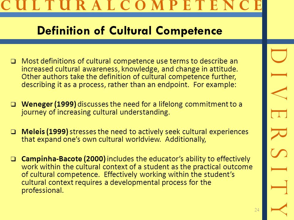 C U L T U R A L C O M P E T E N C E D I V E R S I T Y 24 Definition of Cultural Competence  Most definitions of cultural competence use terms to describe an increased cultural awareness, knowledge, and change in attitude.