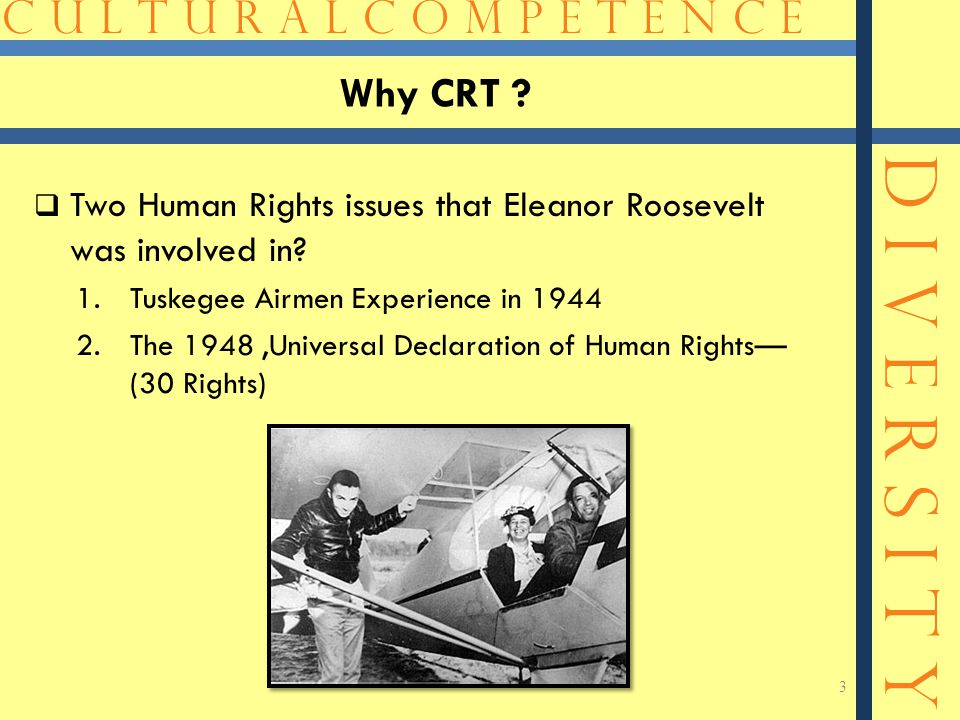 C U L T U R A L C O M P E T E N C E D I V E R S I T Y Why CRT ?  Two Human Rights issues that Eleanor Roosevelt was involved in? 1.Tuskegee Airmen Ex