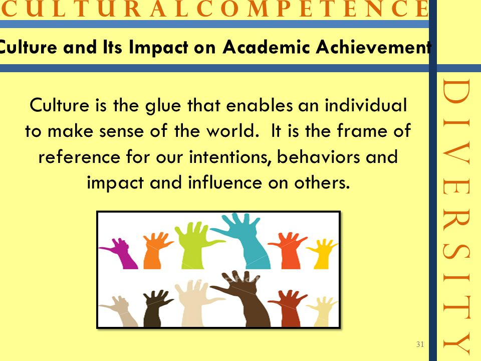 C U L T U R A L C O M P E T E N C E D I V E R S I T Y 31 Culture and Its Impact on Academic Achievement 31 Culture is the glue that enables an individual to make sense of the world.
