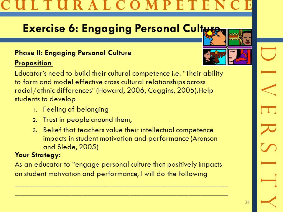 C U L T U R A L C O M P E T E N C E D I V E R S I T Y 34 Phase II: Engaging Personal Culture Proposition: Educator's need to build their cultural competence i.e.