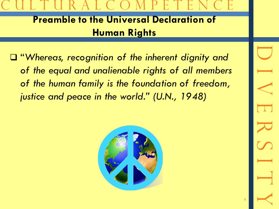 """C U L T U R A L C O M P E T E N C E D I V E R S I T Y Preamble to the Universal Declaration of Human Rights  """"Whereas, recognition of the inherent di"""