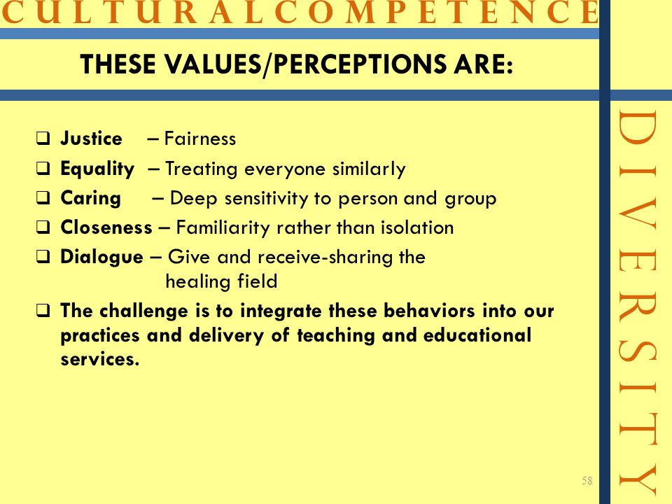 C U L T U R A L C O M P E T E N C E D I V E R S I T Y 58 THESE VALUES/PERCEPTIONS ARE:  Justice – Fairness  Equality – Treating everyone similarly 