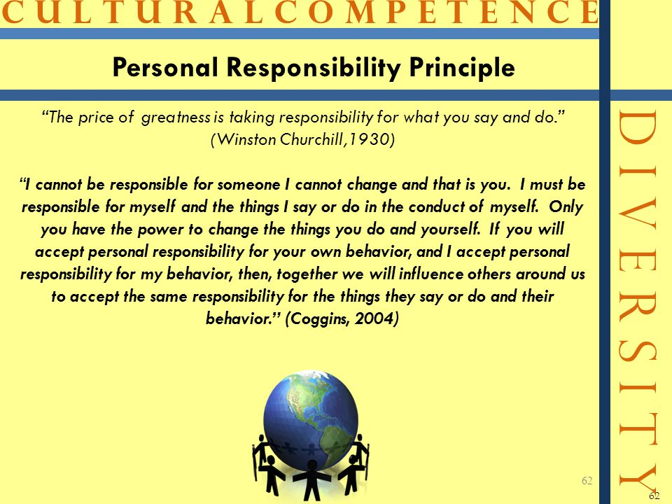 """C U L T U R A L C O M P E T E N C E D I V E R S I T Y 62 Personal Responsibility Principle 62 """"The price of greatness is taking responsibility for wha"""