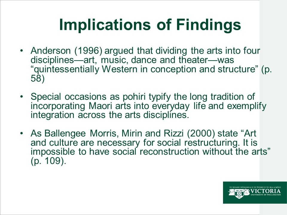 "Implications of Findings Anderson (1996) argued that dividing the arts into four disciplines—art, music, dance and theater—was ""quintessentially Weste"