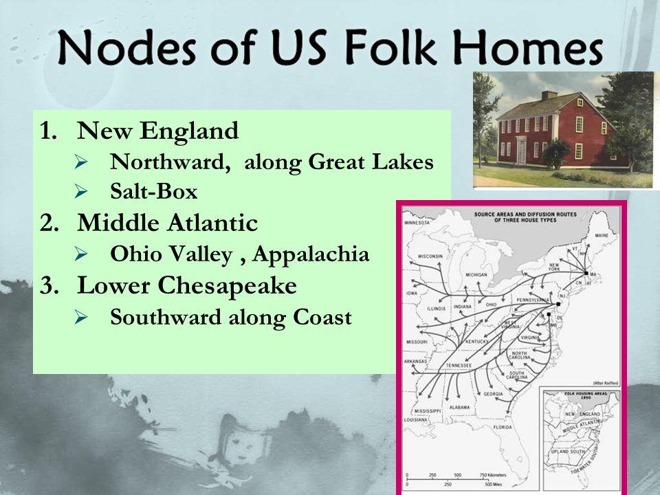 1.New England  Northward, along Great Lakes  Salt-Box 2.Middle Atlantic  Ohio Valley, Appalachia 3.Lower Chesapeake  Southward along Coast