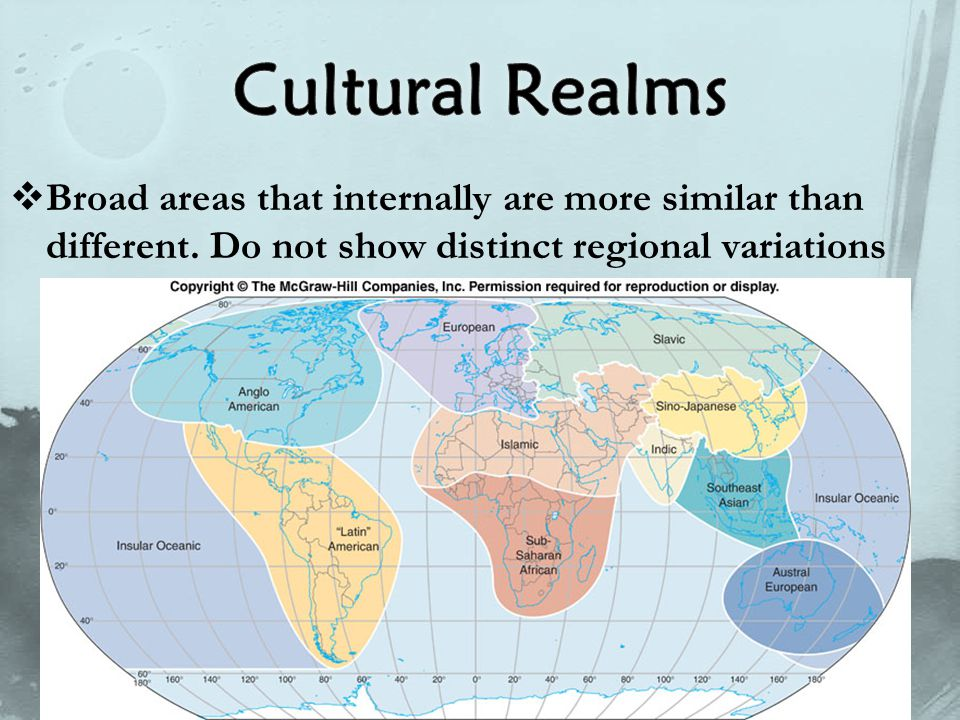  Broad areas that internally are more similar than different. Do not show distinct regional variations