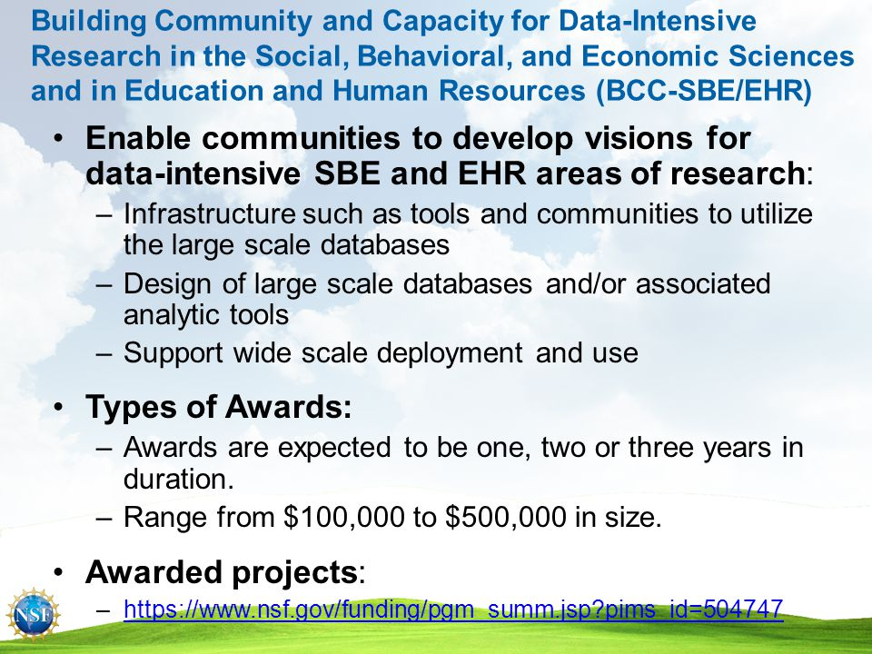 PROPOSAL PROCESS & TIMELINE Research & Education Communities NSF Proposal Generating Document Program Officer Analysis & Recommendation Division Director Concur Organization submits via FastLane Minimum of three reviews required Ad hoc Panel Both Proposal Processing Unit NSF Program Officer Returned as Inappropriate/ Withdrawn Organization Award via DGA Decline Div.