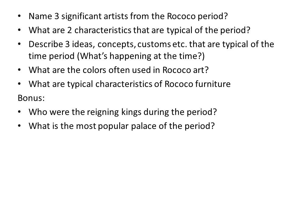 Name 3 significant artists from the Rococo period.