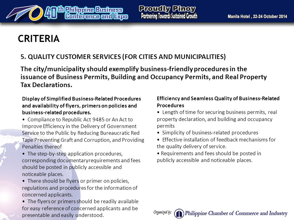 5. QUALITY CUSTOMER SERVICES (FOR CITIES AND MUNICIPALITIES) The city/municipality should exemplify business-friendly procedures in the issuance of Bu