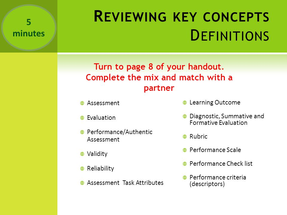 R EVIEWING KEY CONCEPTS D EFINITIONS Turn to page 8 of your handout.