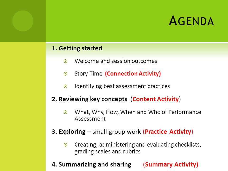 A GENDA 1. Getting started  Welcome and session outcomes  Story Time (Connection Activity)  Identifying best assessment practices 2. Reviewing key