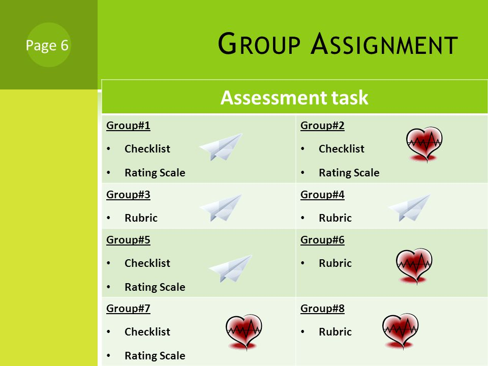 G ROUP A SSIGNMENT Assessment task Group#1 Checklist Rating Scale Group#2 Checklist Rating Scale Group#3 Rubric Group#4 Rubric Group#5 Checklist Rating Scale Group#6 Rubric Group#7 Checklist Rating Scale Group#8 Rubric Page 6