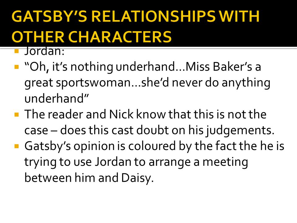 """ Jordan:  """"Oh, it's nothing underhand...Miss Baker's a great sportswoman...she'd never do anything underhand""""  The reader and Nick know that this i"""