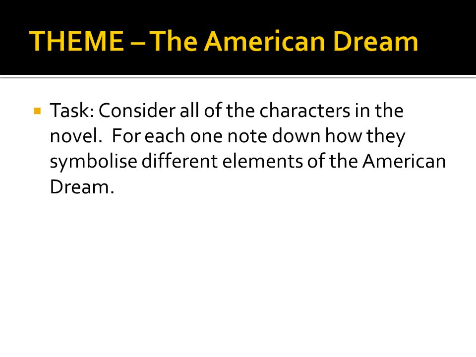  Task: Consider all of the characters in the novel. For each one note down how they symbolise different elements of the American Dream.