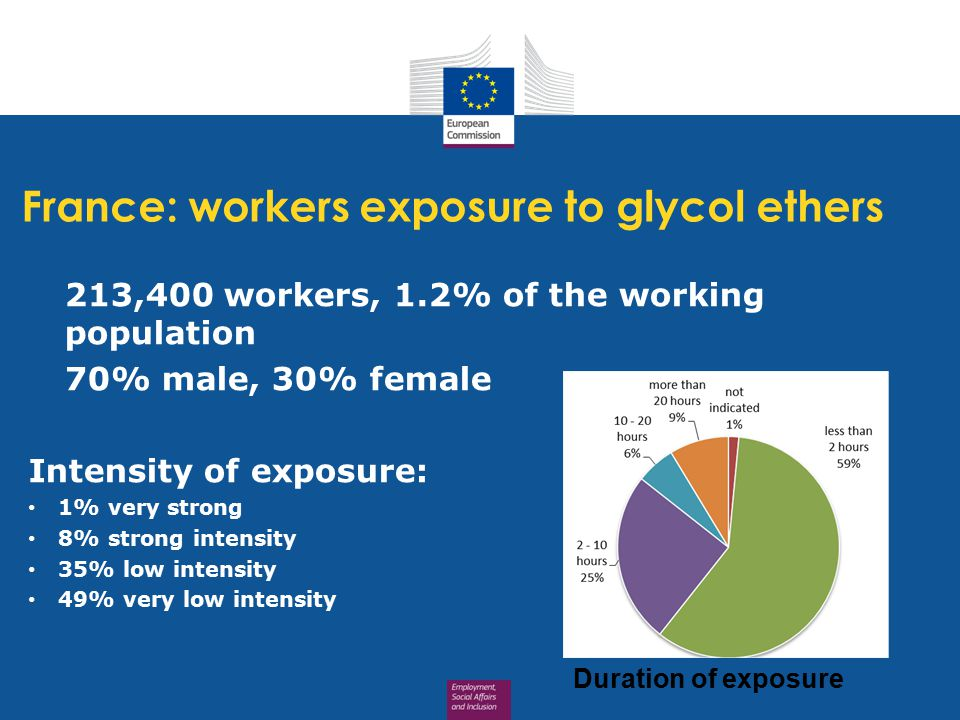 France: workers exposure to glycol ethers 213,400 workers, 1.2% of the working population 70% male, 30% female Intensity of exposure: 1% very strong 8% strong intensity 35% low intensity 49% very low intensity Duration of exposure