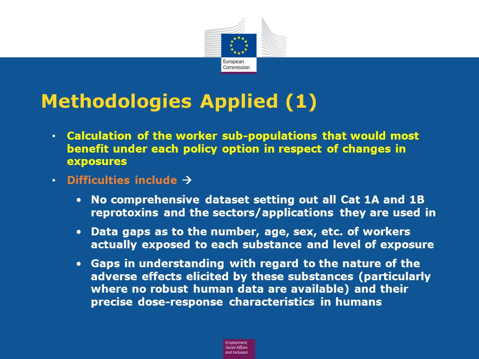 Methodologies Applied (1) Calculation of the worker sub-populations that would most benefit under each policy option in respect of changes in exposures Difficulties include  No comprehensive dataset setting out all Cat 1A and 1B reprotoxins and the sectors/applications they are used in Data gaps as to the number, age, sex, etc.