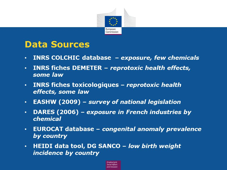 Data Sources INRS COLCHIC database – exposure, few chemicals INRS fiches DEMETER – reprotoxic health effects, some law INRS fiches toxicologiques – reprotoxic health effects, some law EASHW (2009) – survey of national legislation DARES (2006) – exposure in French industries by chemical EUROCAT database – congenital anomaly prevalence by country HEIDI data tool, DG SANCO – low birth weight incidence by country