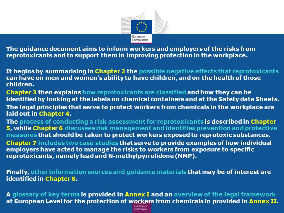 The guidance document aims to inform workers and employers of the risks from reprotoxicants and to support them in improving protection in the workpla