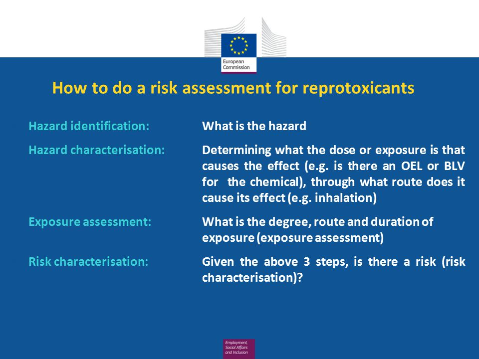 How to do a risk assessment for reprotoxicants 1.Hazard identification: What is the hazard 2.Hazard characterisation: Determining what the dose or exposure is that causes the effect (e.g.