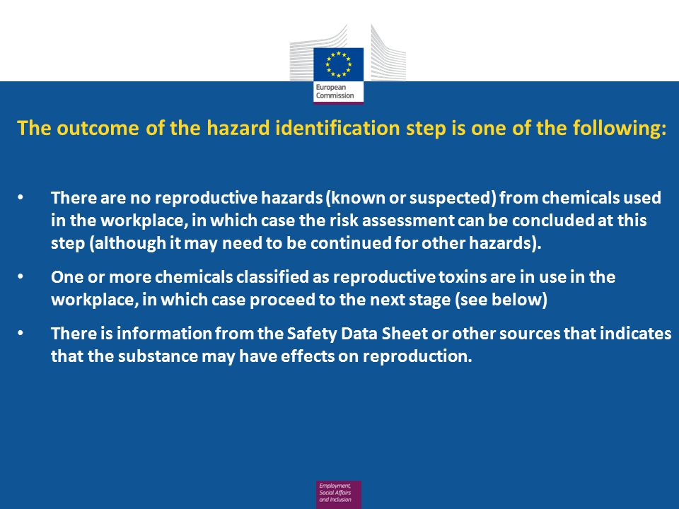 The outcome of the hazard identification step is one of the following: There are no reproductive hazards (known or suspected) from chemicals used in t