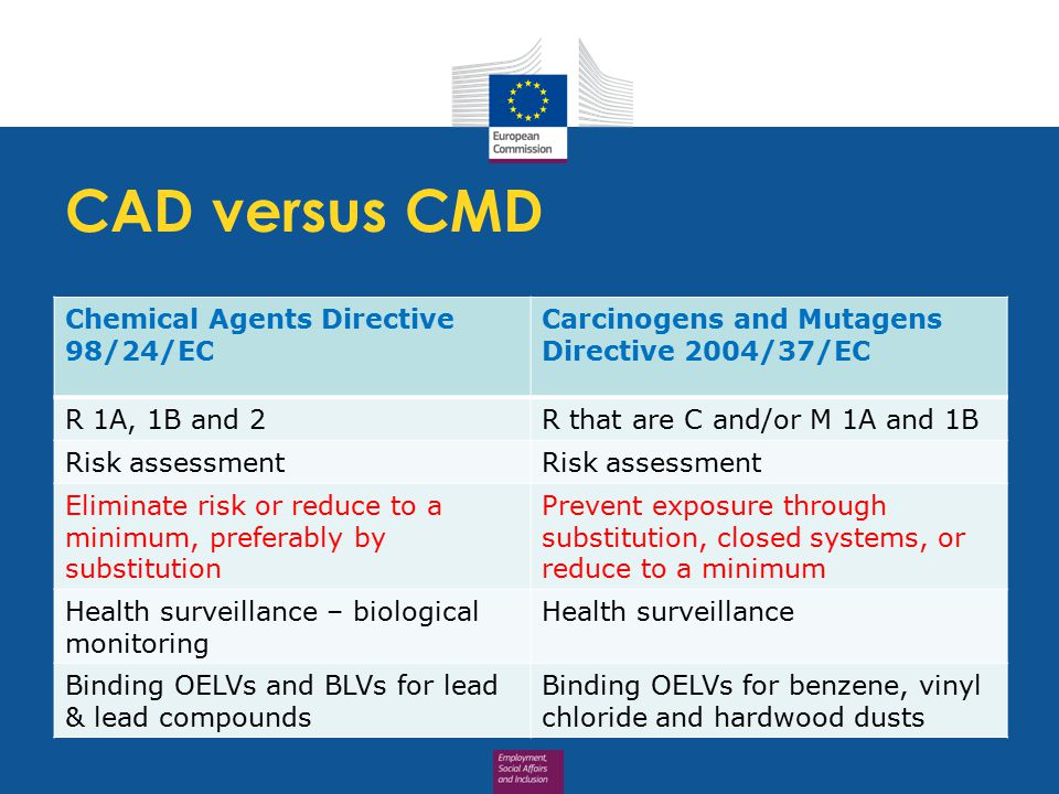 CAD versus CMD Chemical Agents Directive 98/24/EC Carcinogens and Mutagens Directive 2004/37/EC R 1A, 1B and 2R that are C and/or M 1A and 1B Risk assessment Eliminate risk or reduce to a minimum, preferably by substitution Prevent exposure through substitution, closed systems, or reduce to a minimum Health surveillance – biological monitoring Health surveillance Binding OELVs and BLVs for lead & lead compounds Binding OELVs for benzene, vinyl chloride and hardwood dusts