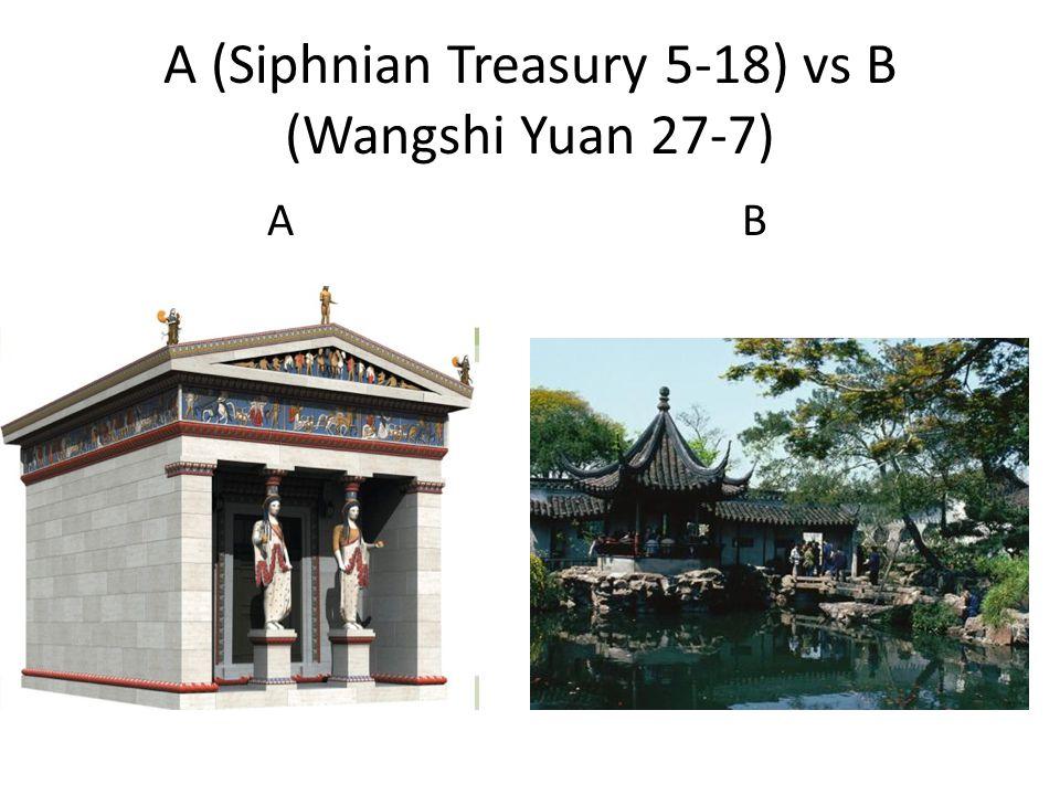 A (Siphnian Treasury 5-18) vs B (Wangshi Yuan 27-7) A B