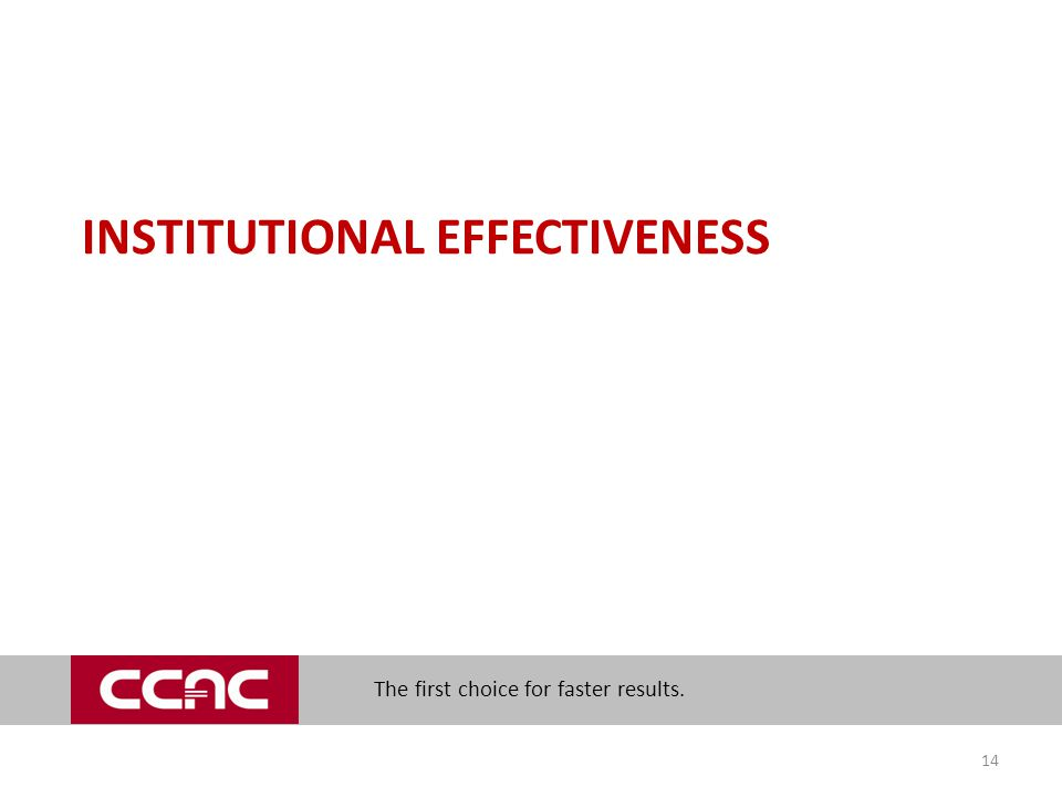 The first choice for faster results. INSTITUTIONAL EFFECTIVENESS 14
