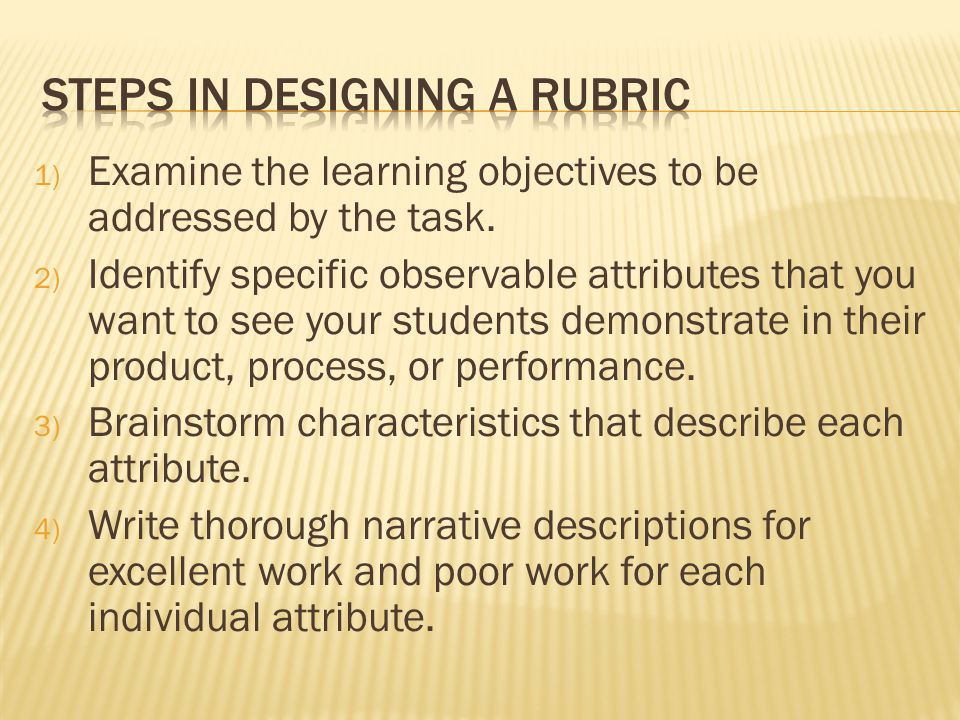 1) Examine the learning objectives to be addressed by the task. 2) Identify specific observable attributes that you want to see your students demonstr