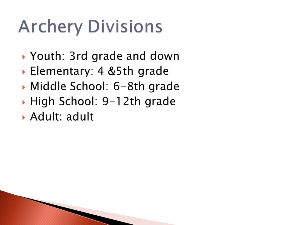  Youth: 3rd grade and down  Elementary: 4 &5th grade  Middle School: 6-8th grade  High School: 9-12th grade  Adult: adult