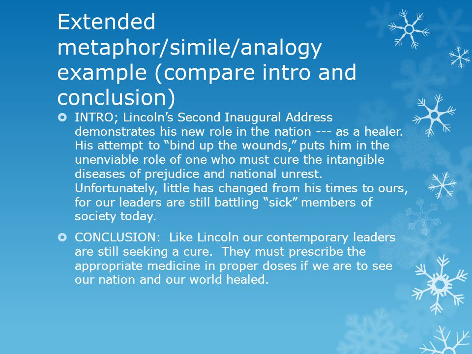 Extended metaphor/simile/analogy example (compare intro and conclusion)  INTRO; Lincoln's Second Inaugural Address demonstrates his new role in the n