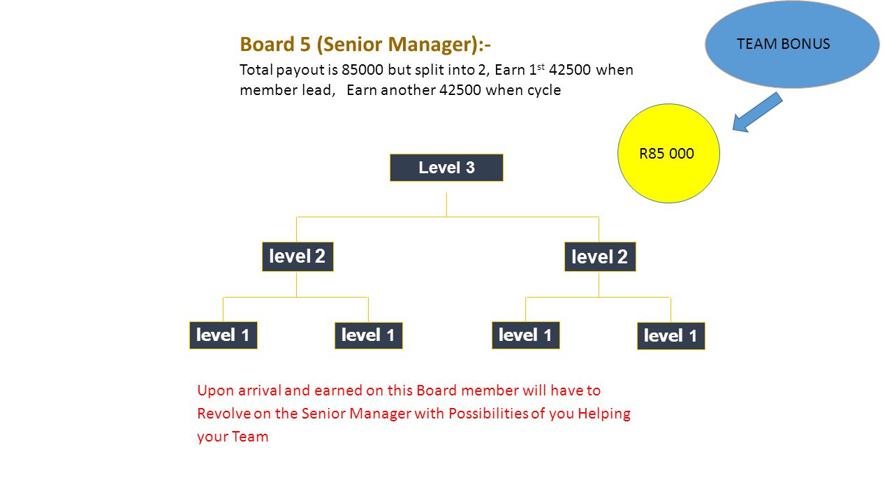 Level 3 level 2 level 1 level 2 level 1 R85 000 Board 5 (Senior Manager):- Total payout is 85000 but split into 2, Earn 1 st 42500 when member lead, Earn another 42500 when cycle Upon arrival and earned on this Board member will have to Revolve on the Senior Manager with Possibilities of you Helping your Team TEAM BONUS