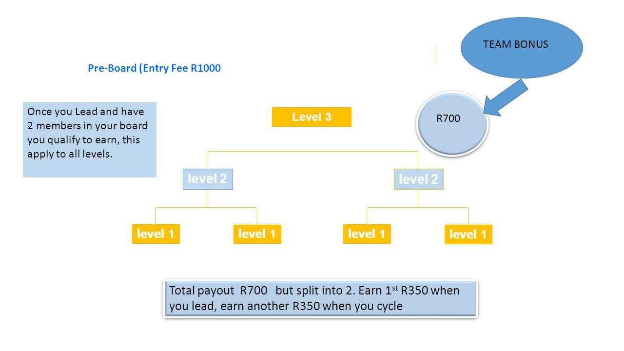 Level 3 level 2 level 1 level 2 level 1 Total payout R700 but split into 2.