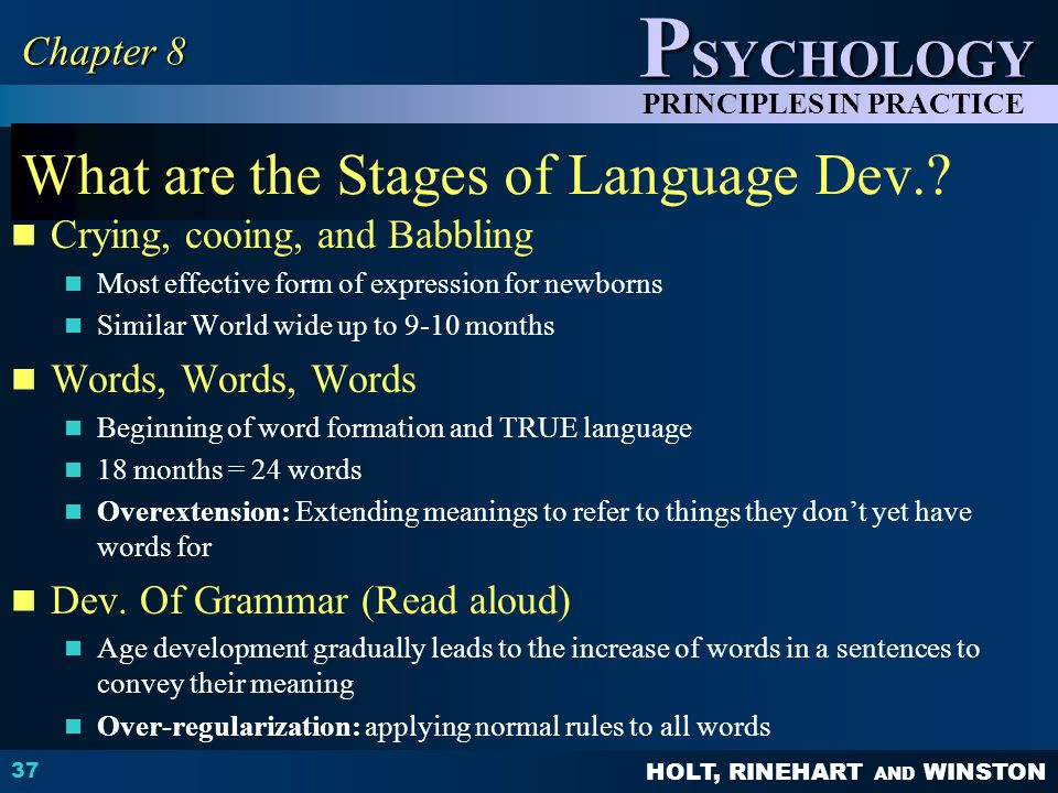HOLT, RINEHART AND WINSTON P SYCHOLOGY PRINCIPLES IN PRACTICE What are the Stages of Language Dev..
