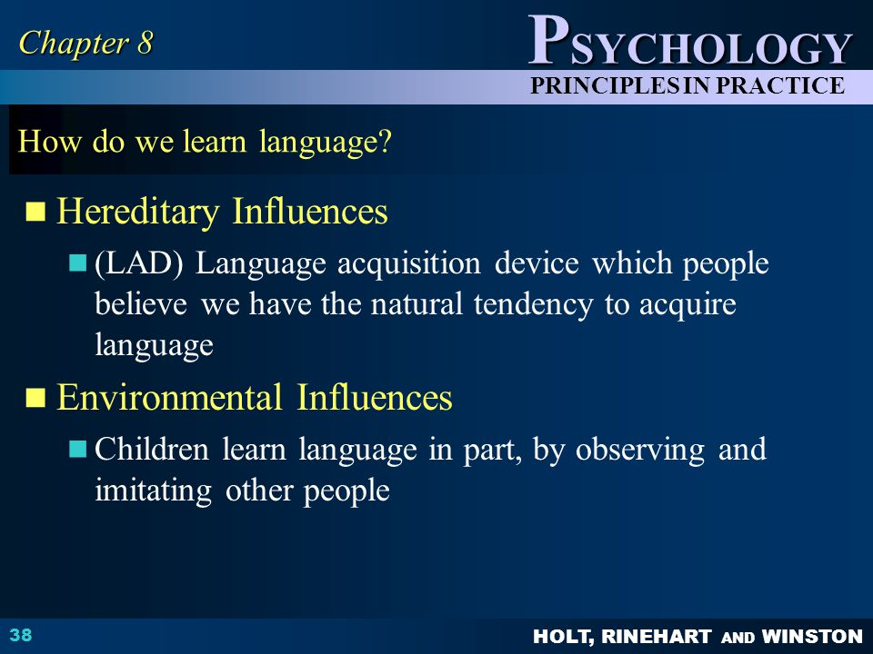 HOLT, RINEHART AND WINSTON P SYCHOLOGY PRINCIPLES IN PRACTICE How do we learn language.