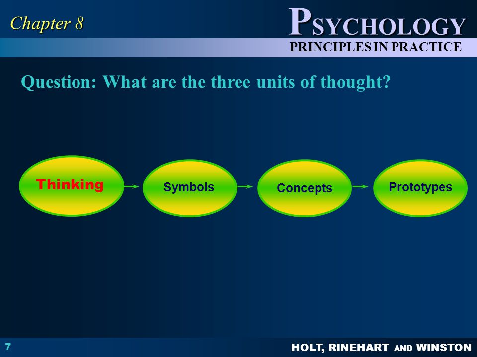 HOLT, RINEHART AND WINSTON P SYCHOLOGY PRINCIPLES IN PRACTICE 7 Chapter 8 Question: What are the three units of thought.