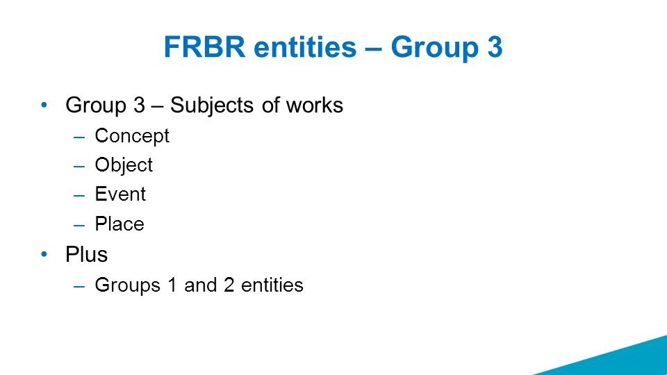FRBR entities – Group 3 Group 3 – Subjects of works –Concept –Object –Event –Place Plus –Groups 1 and 2 entities
