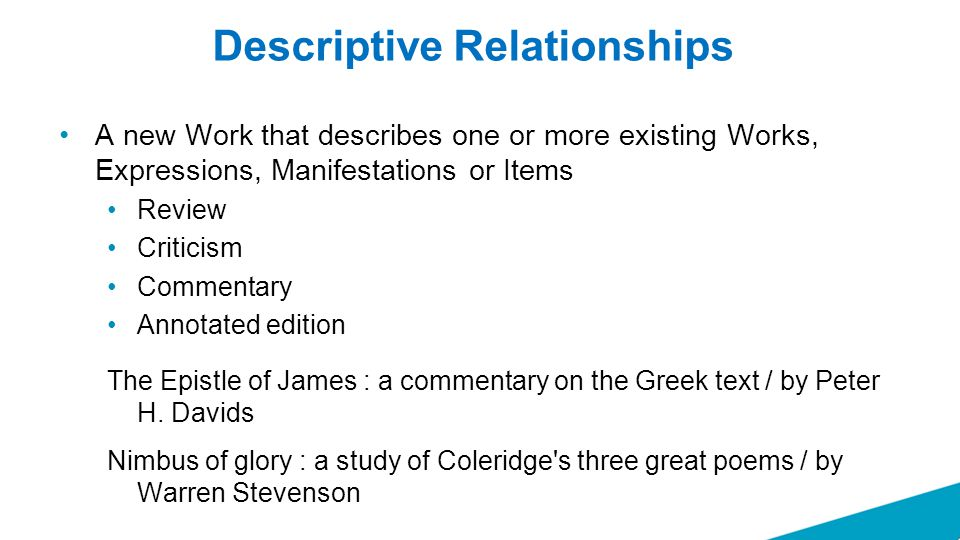 Descriptive Relationships A new Work that describes one or more existing Works, Expressions, Manifestations or Items Review Criticism Commentary Annotated edition The Epistle of James : a commentary on the Greek text / by Peter H.