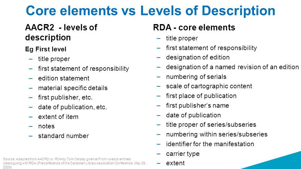 Core elements vs Levels of Description AACR2 - levels of description Eg First level –title proper –first statement of responsibility –edition statemen